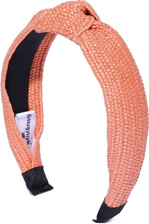 Blueberry Women Peach-Coloured Basket Weave Textured Jute Hairband with Knot Detail