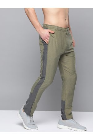 HRX Men Winter Moss Solid Slim Fit Rapid-Dry Lifestyle Trousers