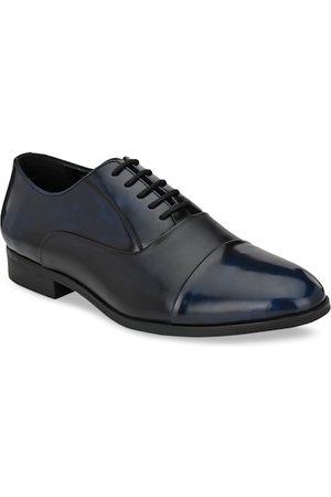 San Frissco Men Blue & Black Solid Leather Formal Oxfords