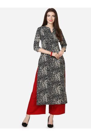 Silk Bazar Women Black Printed A-Line Kurta