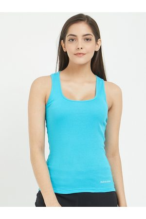 Fruit Of The Loom Women Vests - Women Blue Solid Racer Back Camisole FRBS01-A1S4