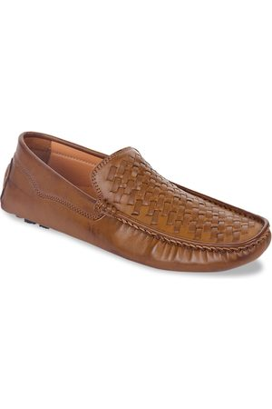 Liberty Men Tan Brown Woven Design Leather Formal Driving Loafers