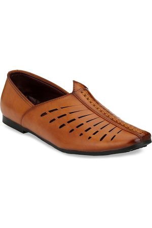 Azzaro Men Brown Textured Slip-On Shoes