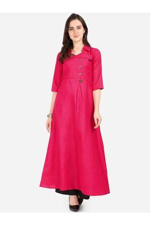 Silk Bazar Women Pink Solid A-Line Kurta
