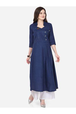 Silk Bazar Women Navy Blue Solid A-Line Kurta