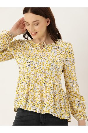 Lee Cooper Women White & Yellow Floral Printed A-Line Top