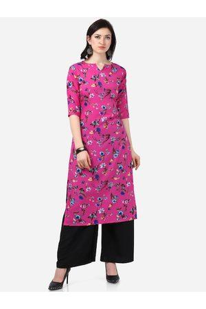 Silk Bazar Women Pink & Blue Printed Straight Kurta