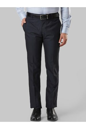 Raymond Weil Men Black & Blue Slim Fit Checked Formal Trousers
