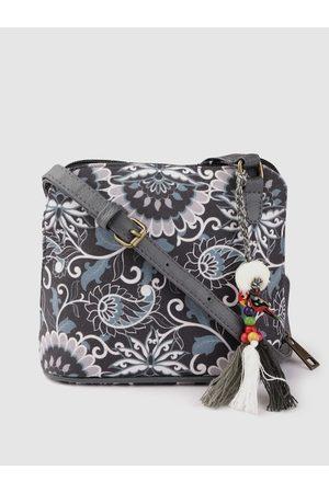 Anouk Women Charcoal Grey & Blue Ethnic Motifs Print Sling Bag with Tasselled Detail