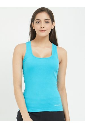 Fruit of the loom Women Blue Solid Racer Back Camisole FRBS01-A1S4