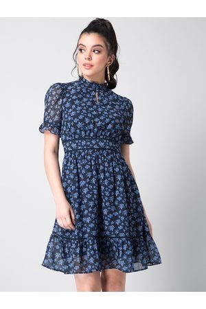 FabAlley Women Navy Blue Floral Printed Fit and Flare Dress