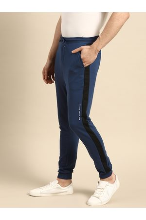 Ether Men Navy Blue Solid Joggers