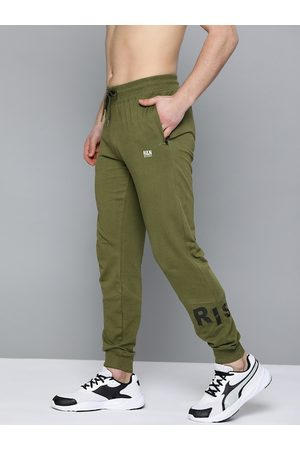 HERE&NOW Men Olive Green Pure Cotton Solid Joggers