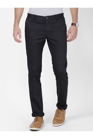 T-BASE Men Navy Blue Slim Fit Solid Chinos