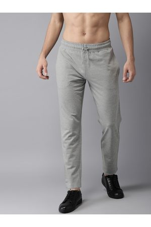 HERE&NOW Men Grey Solid Straight Fit Joggers