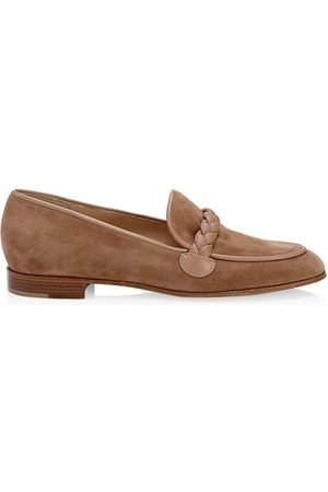 Gianvito Rossi Braided Suede Loafers