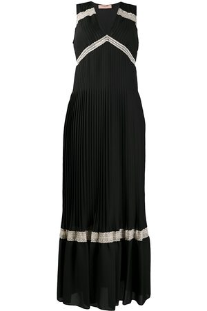 Twin-Set Lace-trimmed pleated dress