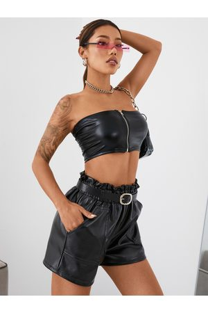 YOINS Leather Zip Front Tube Top