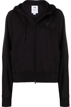 Y-3 Women Jackets - Logo-print zip-up hooded jacket