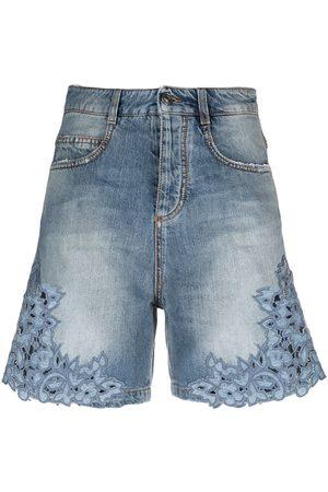 ERMANNO SCERVINO Women Shorts - Embroidered-trim denim shorts