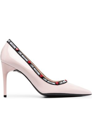 Love Moschino Logo tape-trimmed leather pumps