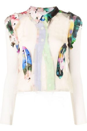 Maison Margiela Layered graphic-print knitted top