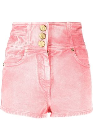 Balmain Women High Waisted - High-waisted denim shorts