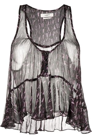 Isabel Marant Printed sheer cropped blouse
