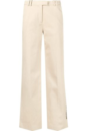 Karl Lagerfeld Embroidered-logo wide-leg trousers