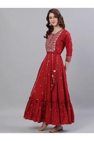 Ishin Women Red Embroidered Anarkali Kurta