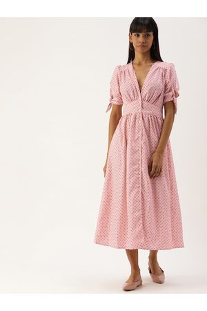 Campus Women Peach-Coloured Printed Fit and Flare Dress