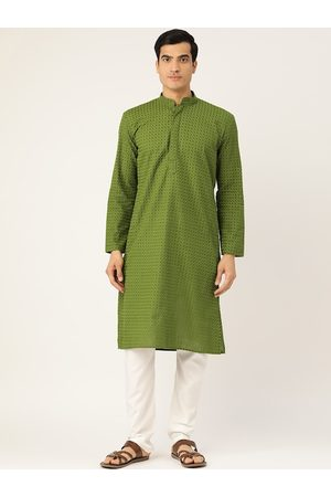 RAJUBHAI HARGOVINDAS Men Green Embroidered Straight Kurta