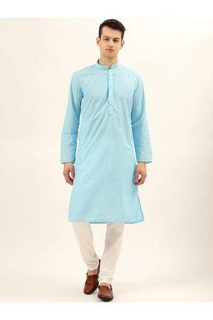 RAJUBHAI HARGOVINDAS Men Turquoise Blue Embroidered Straight Kurta