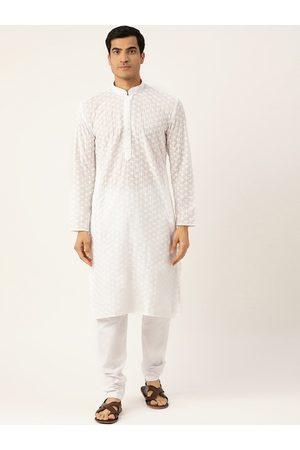 RAJUBHAI HARGOVINDAS Men White Woven Design Straight Kurta