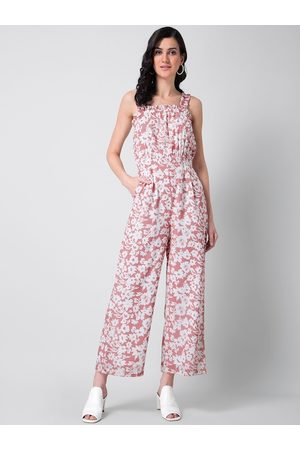 FabAlley Women Pink & White Floral Printed Basic Jumpsuit