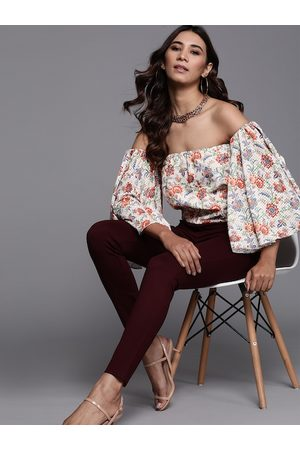 Inddus Women Off-White & Red Floral Printed Bardot Top