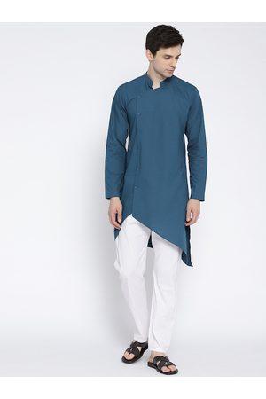 See Designs Men Teal Blue Solid Straight Kurta