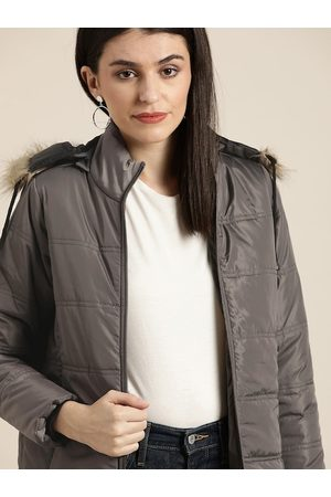 Invictus Women Charcoal Grey Solid Hooded Parka Jacket
