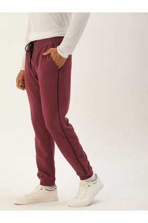 SINGLE Men Maroon Solid Regular Fit Joggers With Side Stripes