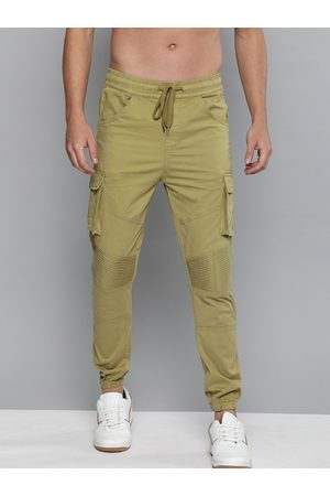 HERE&NOW Men Joggers - Men Khaki Regular Fit Solid Joggers