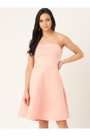DODO & MOA Women Strapless Dresses - Women Peach-Coloured Solid Strapless A-Line Dress