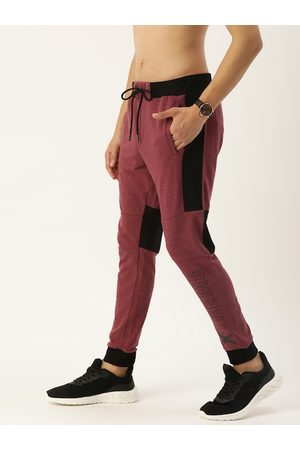 Flying Machine Men Joggers - Men Maroon Solid Straight-Fit Joggers