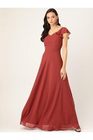 20Dresses Women Rust Red Solid Maxi Dress