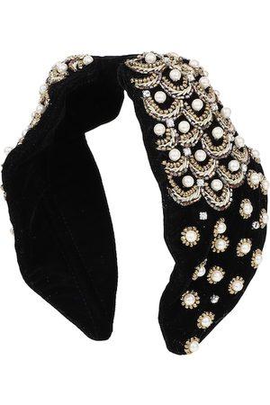 Anekaant Women Black Velvet Pearl & Gold Beaded Hairband