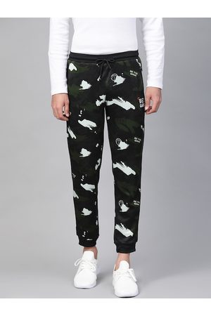 Alcis Men Black & Olive Green Straight Fit Printed Joggers