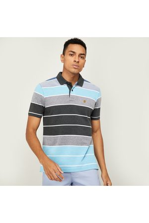 Fahrenheit Men Striped Slim Fit Polo T-shirt
