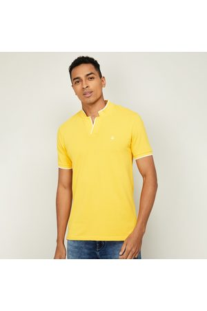 Benetton Men Solid Regular Fit Johnny Collar T-shirt