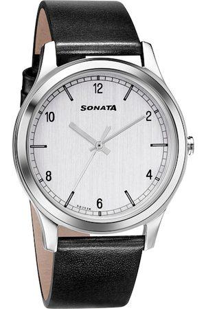 Sonata Men White Analogue Watch 7135SL01
