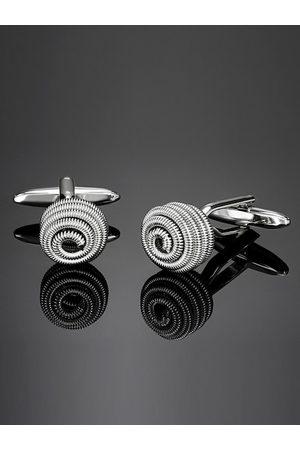 shaze Men Rhodium-Plated Textured Coiled Cufflinks