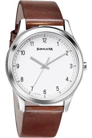Sonata Men White Analogue Watch 7135SL03